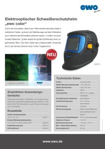"""Informationsflyer zu Schweißerschutzhelb """"ewo color"""" Artikelnummer:E26210"""